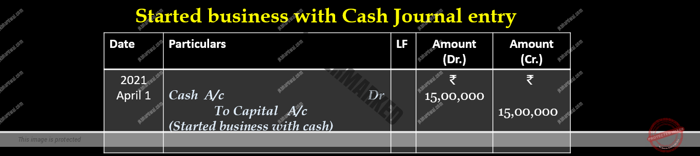 Started business with cash journal entry