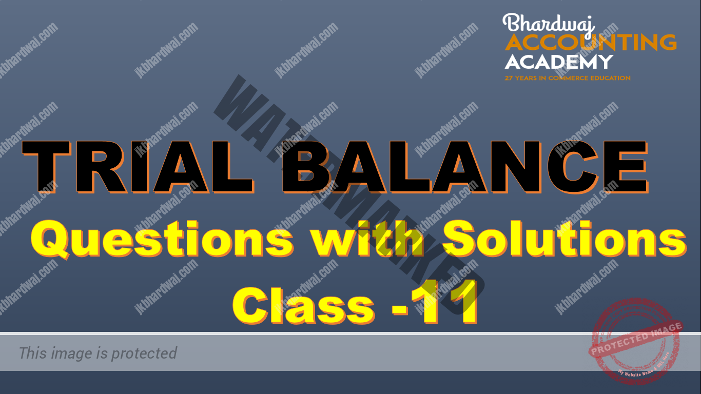 Trial Balance questions with solutions class 11
